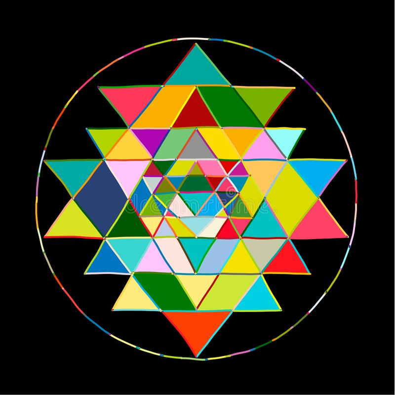 Simbolo sacro Sri Yantra di alchemia e della geometria Schizzo disegnato a mano per la vostra progettazione illustrazione di stock