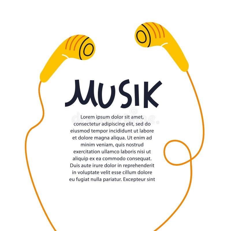Simbolo sano delle cuffie del fondo di progettazione dell'illustrazione di vettore della copertura dell'iscrizione di musica dell illustrazione di stock