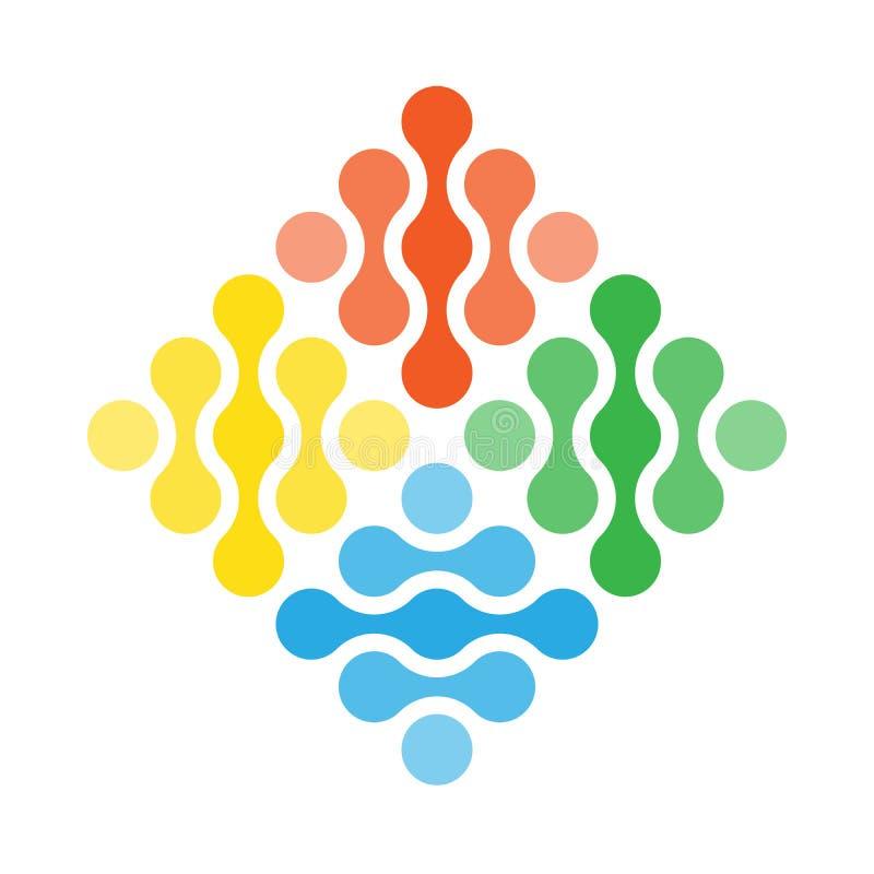 Simbolo semplice di vettore di quattro elementi Concetto di progetto astratto di fuoco, di aria, di acqua e di terra in una forma illustrazione vettoriale