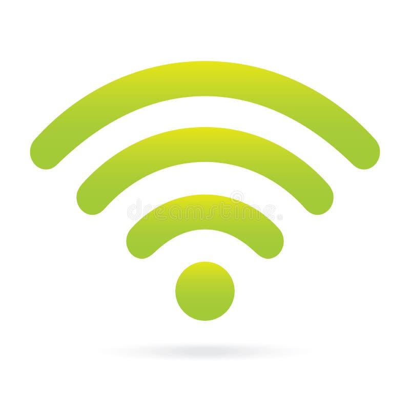 Simbolo senza fili dell'icona verde di wifi su fondo isolato royalty illustrazione gratis