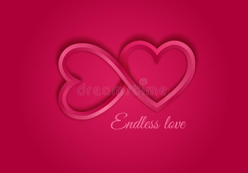 Simbolo senza fine rosso di amore illustrazione vettoriale