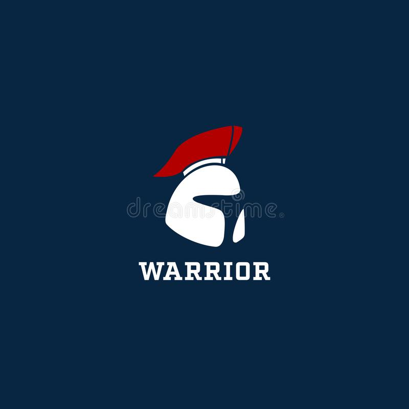 Simbolo spartano dell'icona di logo del casco del guerriero illustrazione vettoriale