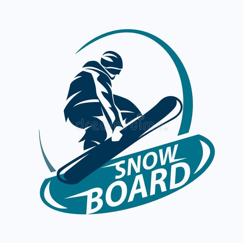 Simbolo stilizzato di snowboard illustrazione di stock