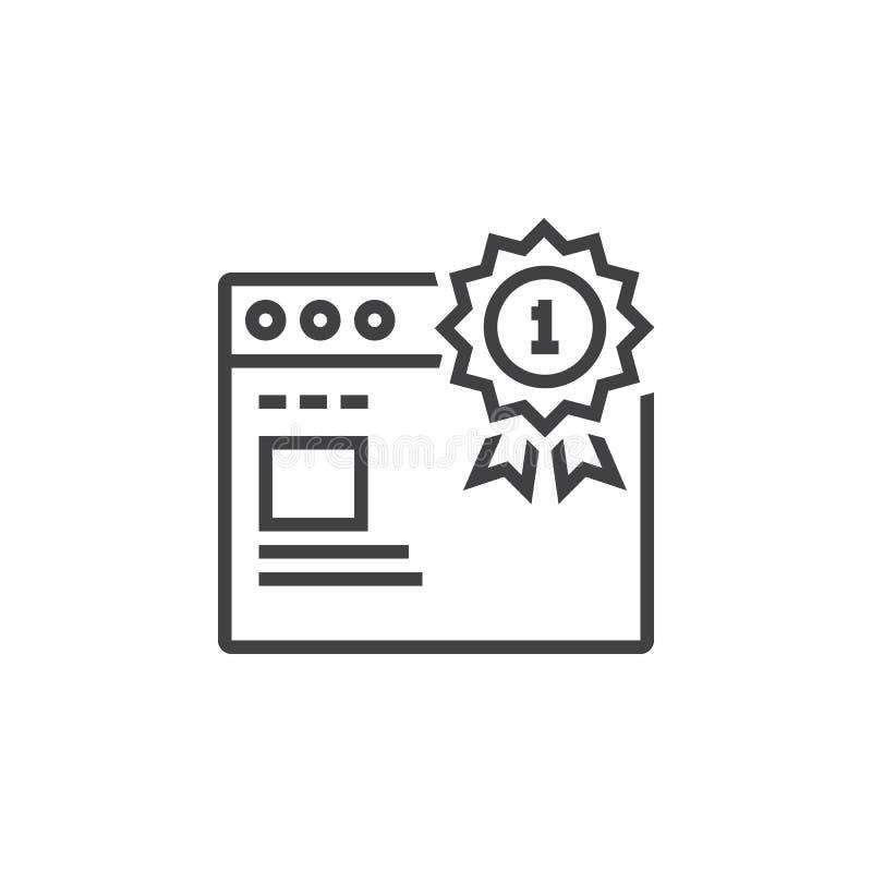 Simbolo superiore del sito Web del posto primi medaglia del posto e Li di web browser illustrazione di stock