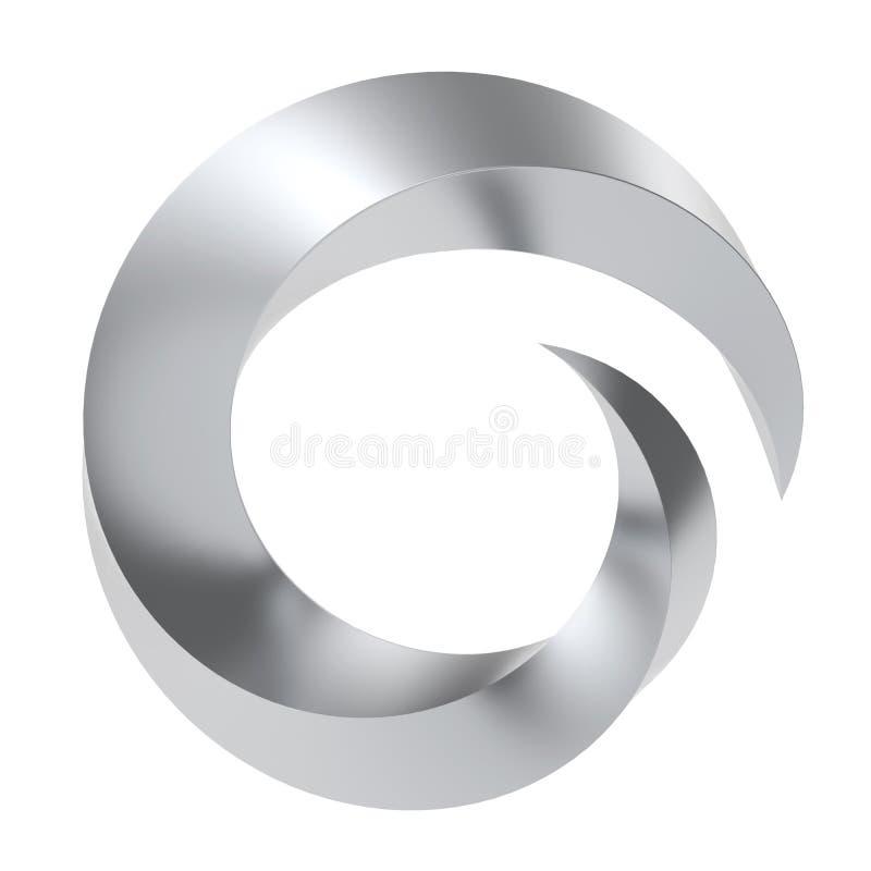 Simbolo torto di turbinio del metallo 3D illustrazione di stock