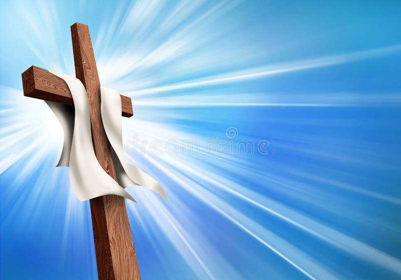 Simbolo trasversale cristiano luminoso con il fondo del cielo blu Concetto di crocifissione - resurrezione illustrazione vettoriale