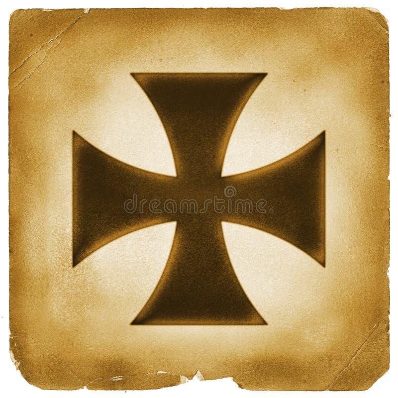 Simbolo trasversale su vecchia carta royalty illustrazione gratis