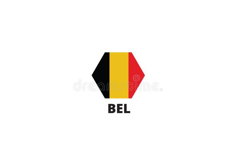 Simbolo tricolore nazionale dell'emblema del paese del Belgio illustrazione di stock