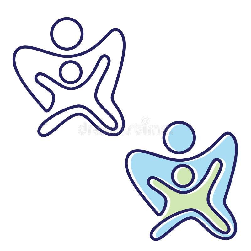 Simbolo variopinto astratto dell'icona della gente nello stile piano royalty illustrazione gratis