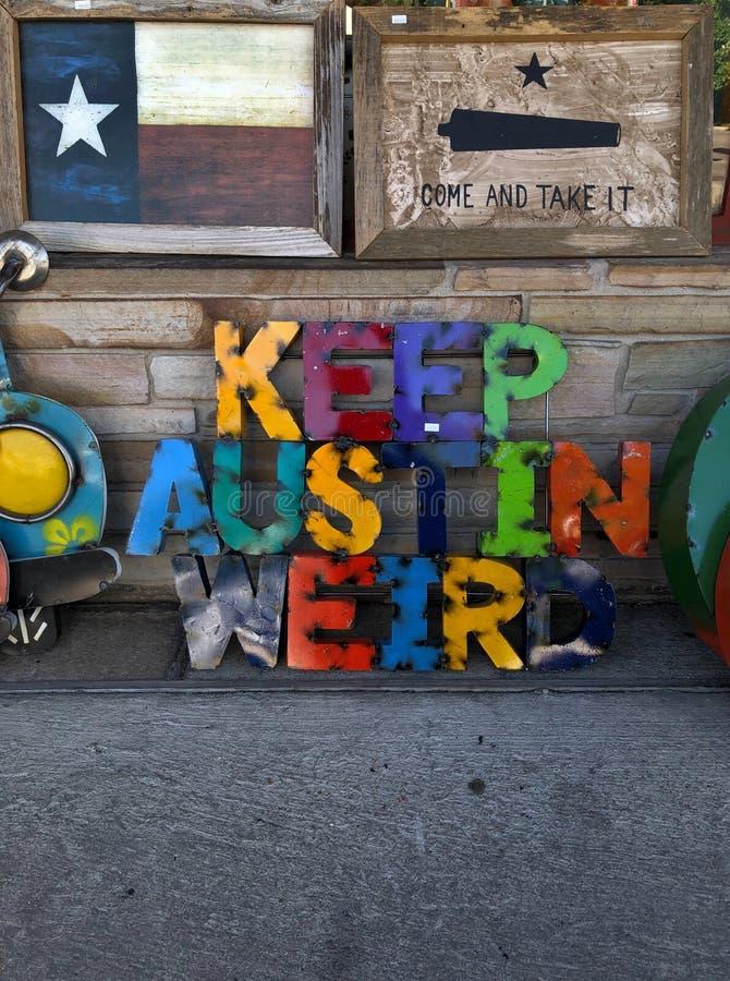 Simbolo variopinto di Austin Texas Sign Neon Graffiti Art immagini stock libere da diritti