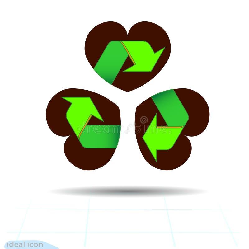 Simbolo verde riciclato situato sulla foglia del trifoglio della foglia dell'estratto tre nella forma di cuore, un attributo dei  illustrazione vettoriale