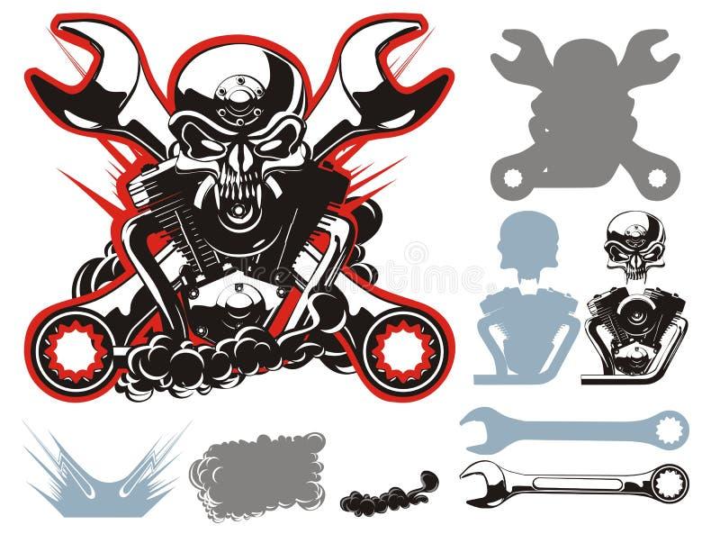 Simbols dos motociclistas do vetor ajustados ilustração royalty free