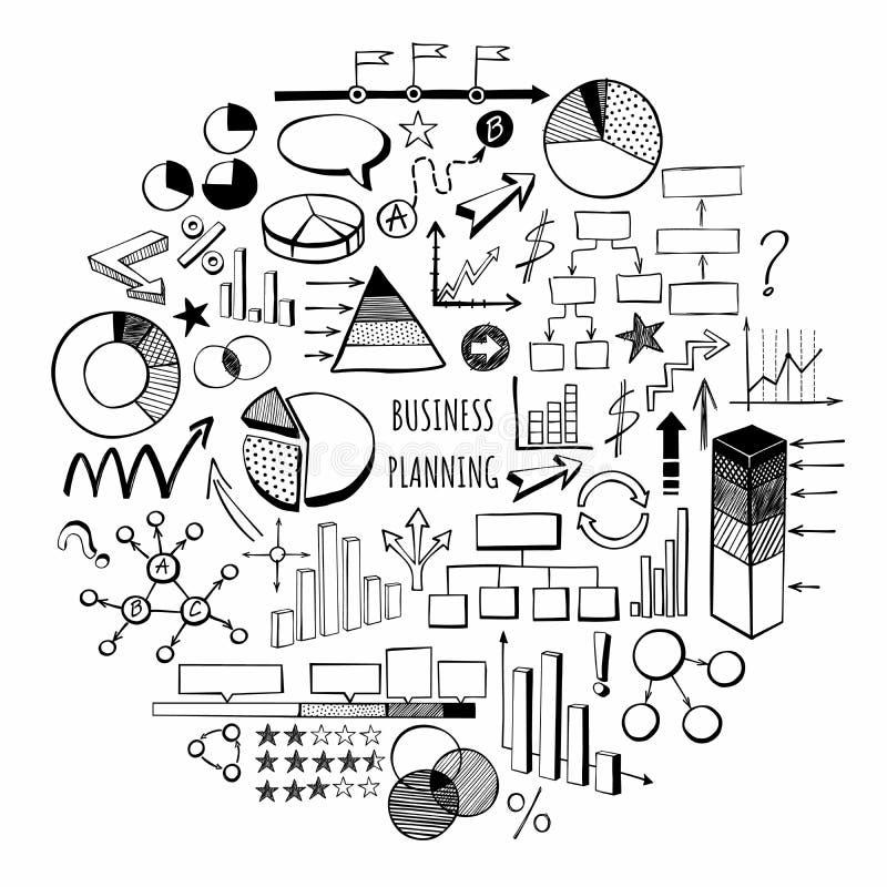 Simbols exhaustos de la mano de la planificaci?n de empresas libre illustration