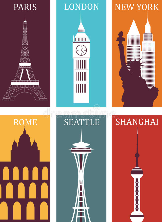 Download Simbols of famous cities. stock vector. Image of city - 29389987