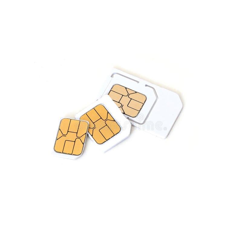 Simcard och mikrosimcard för mobiltelefon på vit bakgrund royaltyfria bilder