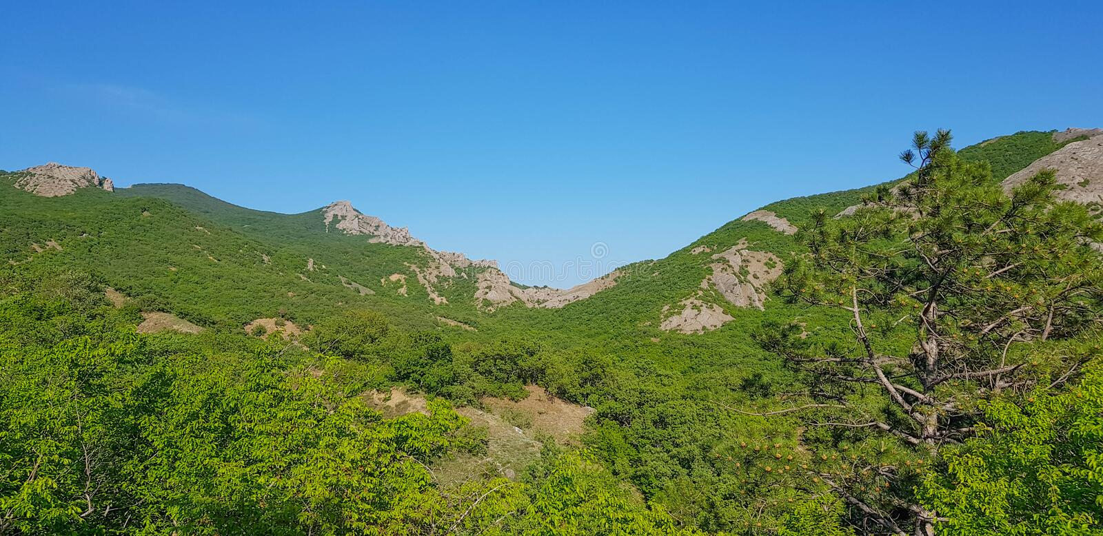 Landscape of Mount Dina on the Crimean coast royalty free stock photography