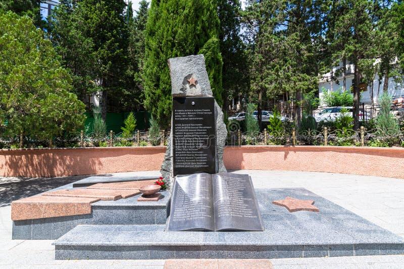 Simeiz, Krim - 1 juli 2019 Monument met namen van inwoners van Simeiz, die overleden zijn in de Tweede Wereldoorlog royalty-vrije stock afbeeldingen