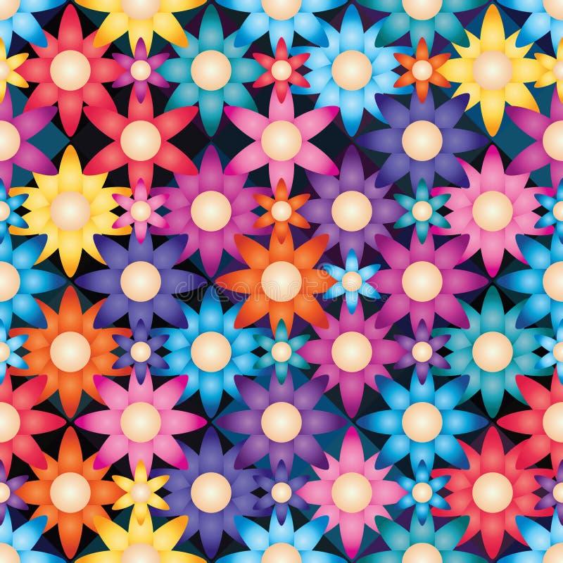 Simetría brillante de la flor mucha modelo inconsútil stock de ilustración