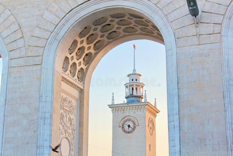 Simferopol Railway Station. Clock Tower of Simferopol Railroad Station. Clock tower of Simferopol railroad station. Crimea. The station serves millions of stock photos