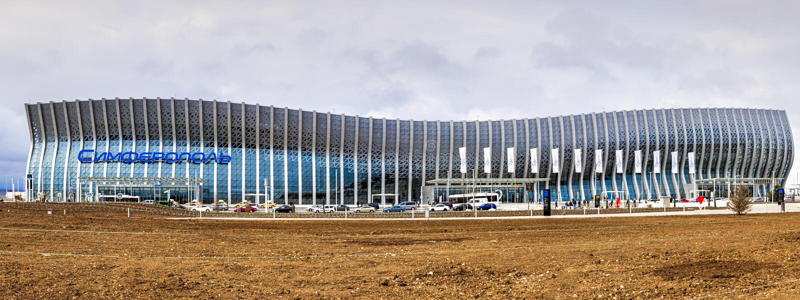 Simferopol, Russland - 20. April 2018: Internationaler Flughafen neues modernes Fluggastterminal Simferopols stockfoto