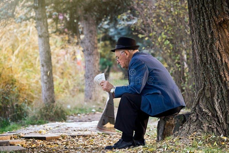 SIMFEROPOL UKRAINA, November, 12,2009 - hög gentleman med hattsammanträde på stubben och läsningen en tidning i en parkera royaltyfri fotografi