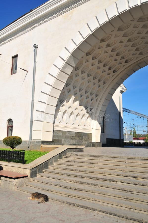 Simferopol, Ukraine, May 2011. Simferopol Railway Station. Designed by the Alexey Dushkin in 1951 royalty free stock image