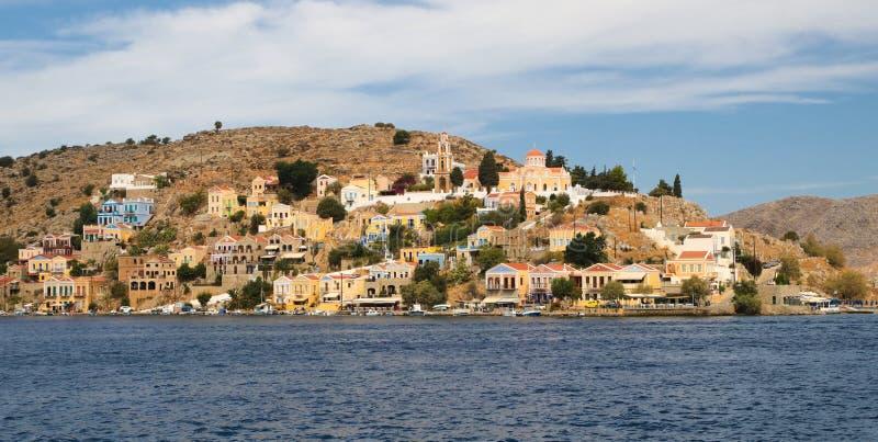 Symi town cityscape, Dodecanese islands, Greece. Simi town cityscape, Dodecanese islands in Greece stock photos