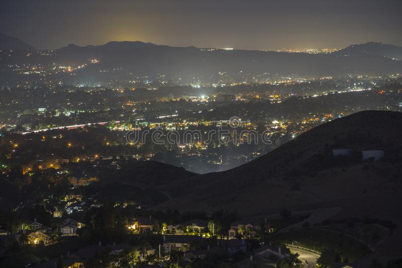 Simi Valley California Hazy Night View foto de stock royalty free