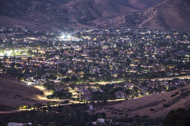 Simi Valley California Predawn Sleepy Suburb arkivfoto