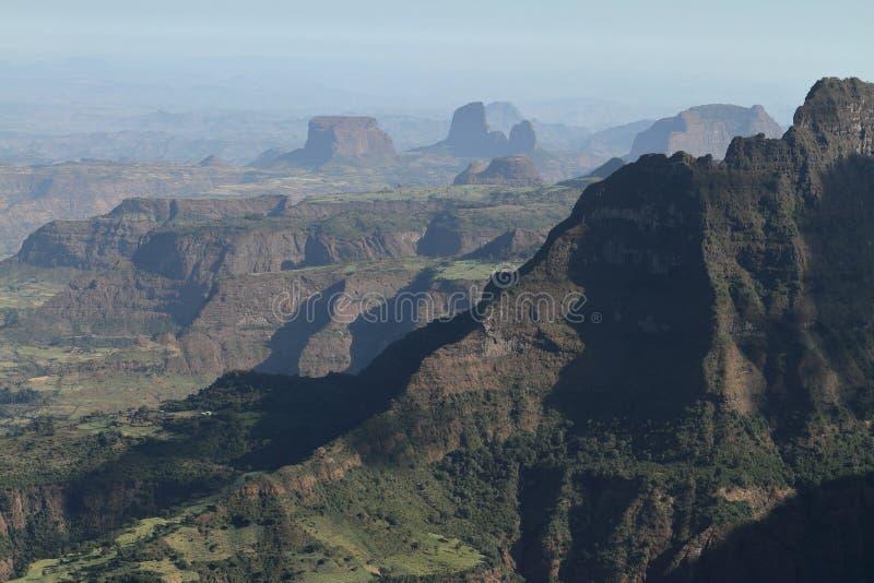 Simien山的风景在埃塞俄比亚 库存图片