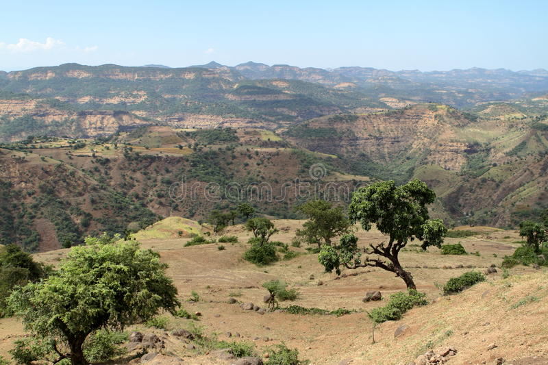 Simien山的风景在埃塞俄比亚 图库摄影