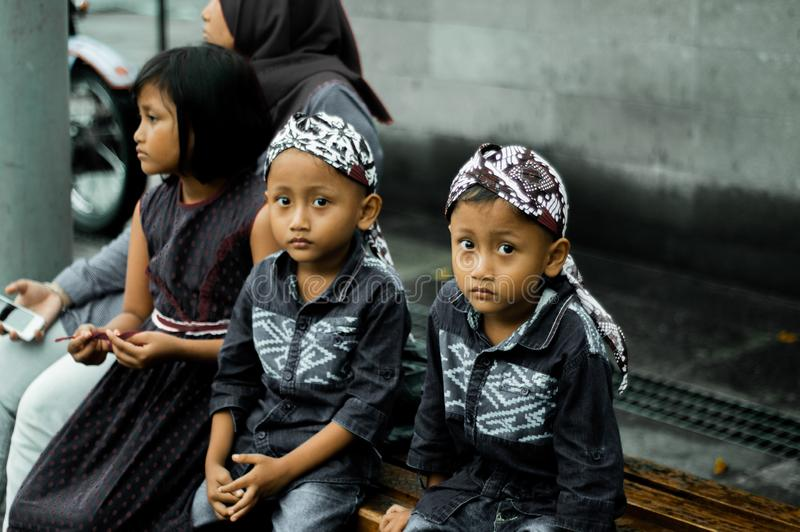 Similar but not the same. This photo was taken on the streets of Malioboro jogja.identical twins, if seen at a glance, but actually have many differences .with royalty free stock image