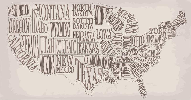 Simile alta mappa decorativa dettagliata in bianco di U.S.A. sul backgrou bianco illustrazione vettoriale