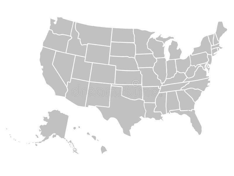 Simile mappa in bianco di U.S.A. su fondo bianco Paese degli Stati Uniti d'America Modello di vettore per il sito Web fotografia stock libera da diritti