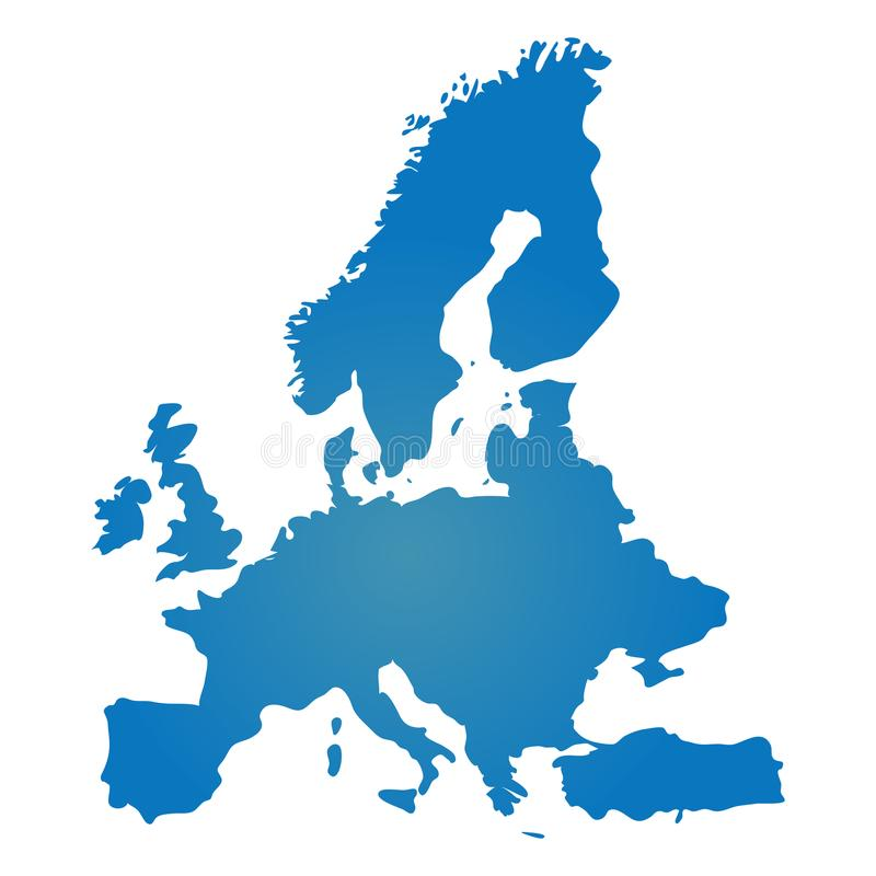 Simile mappa blu in bianco di Europa isolata su fondo bianco Vect illustrazione di stock