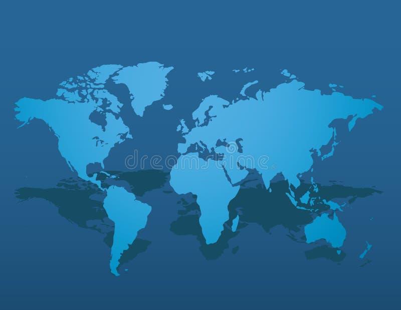 Simile spazio in bianco blu della mappa di mondo su fondo scuro Illustrazione di vettore royalty illustrazione gratis