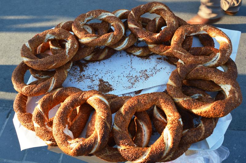 Turkish bagel simit, street food stock photo