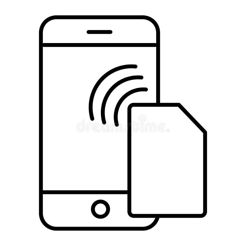 Simkaart en smartphone dun lijnpictogram Mobiele die kaart en telefoonillustratie op wit wordt ge?soleerd De stijl van het spaand stock illustratie