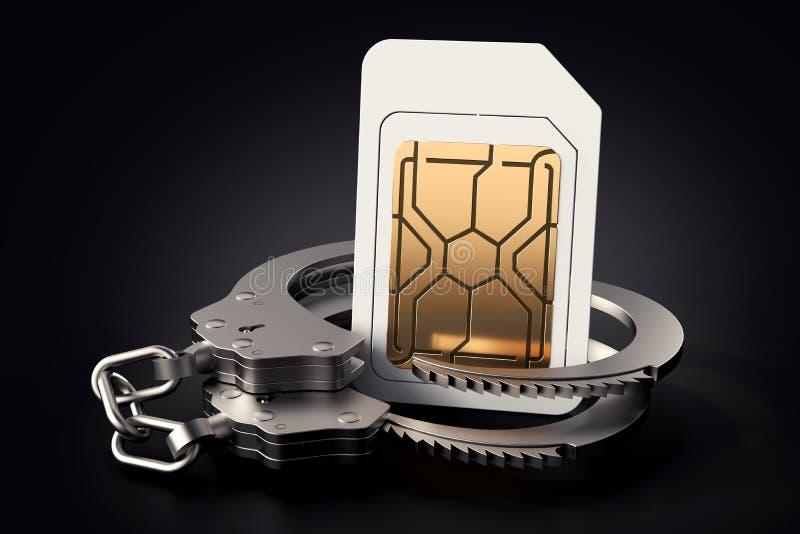Simkaart in handcuffs Juridische problemen rond carrières, exploitanten, rekeningen, het concept van hoge snelheidsnetwerken het  stock illustratie