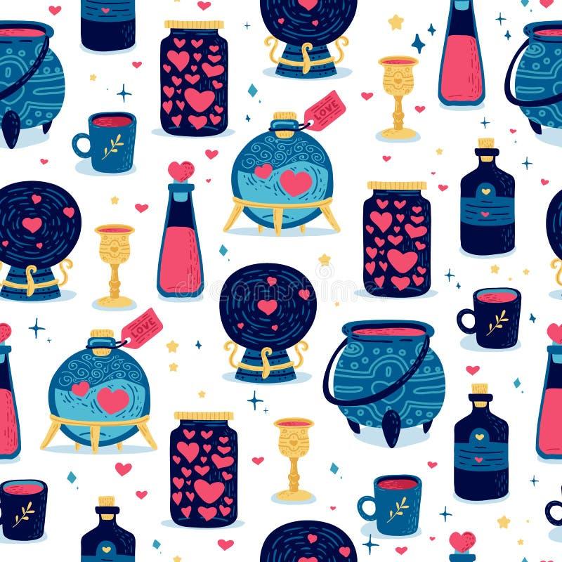 Simless σχέδιο σχεδίου με το χαριτωμένο μαγικό στοιχείο doodle Σκηνικό για την ευτυχή ημέρα βαλεντίνων ` s με τη μάχη φίλτρων και διανυσματική απεικόνιση