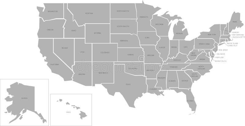 Simlified-Vektorkarte von USA lizenzfreie abbildung