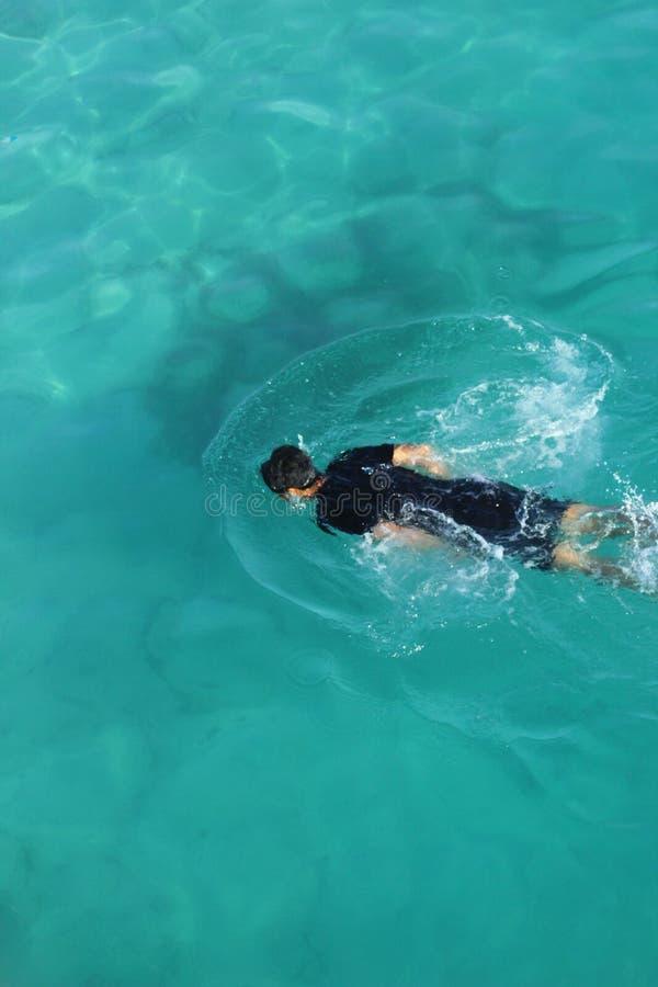 Simma i havet royaltyfria bilder