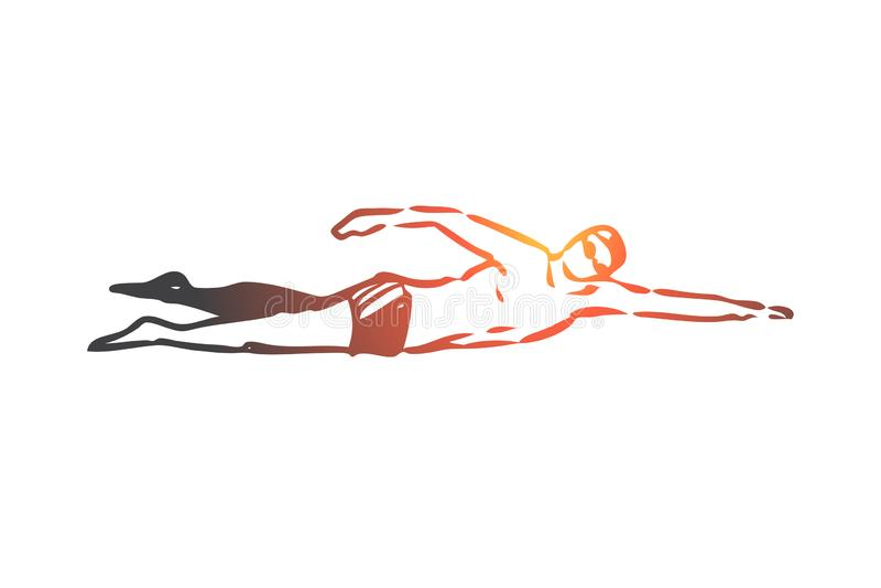 Simma krypande, sport, pöl, vatten, aktivt begrepp Hand dragen isolerad vektor stock illustrationer