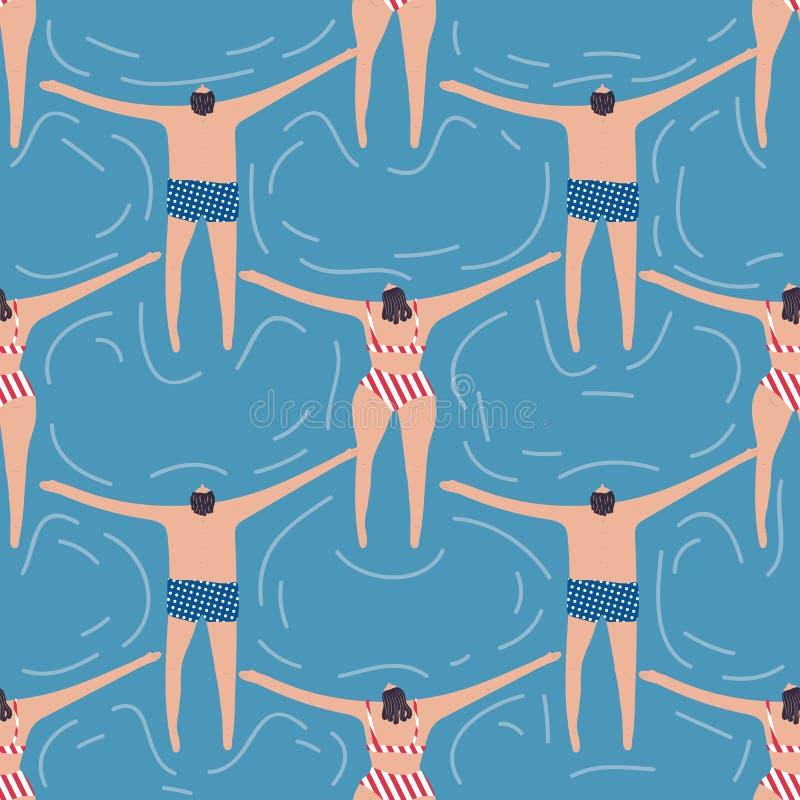 Simmare i den sömlösa modellen för pöl royaltyfri illustrationer