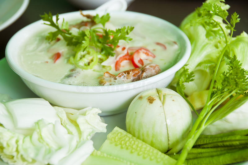 Simmer soft crab boiled in coconut milk. royalty free stock photos