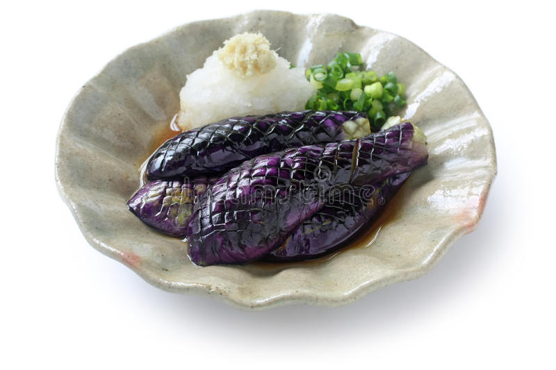 Simmered eggplants, japanese food. On white background stock photography