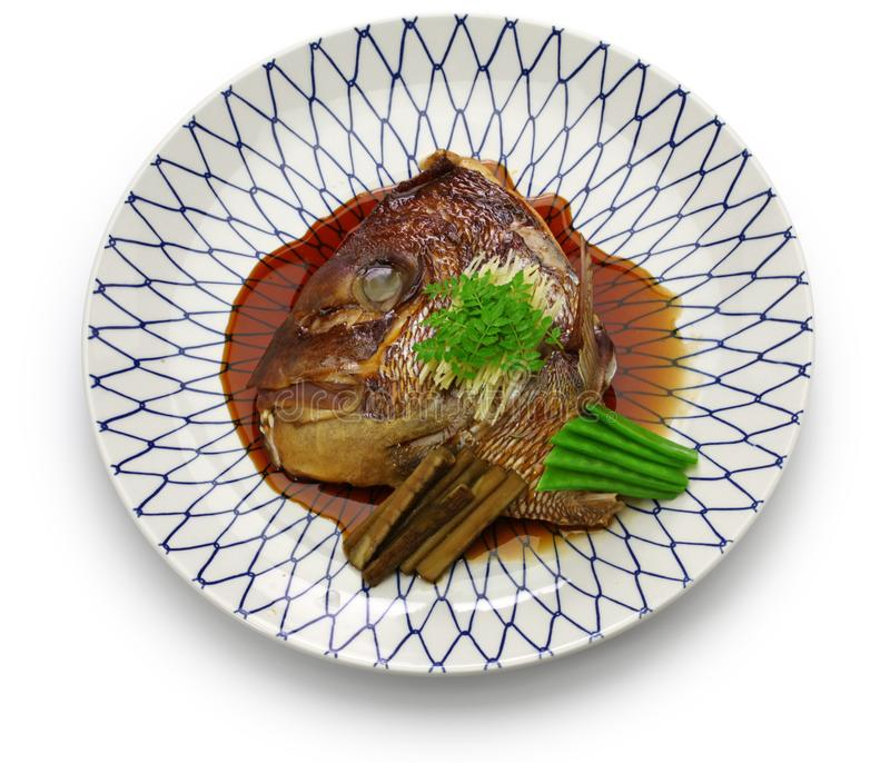 Simmered sea bream head, japanese cuisine. Simmered sea bream head, tai no kabutoni, japanese cuisine stock photography