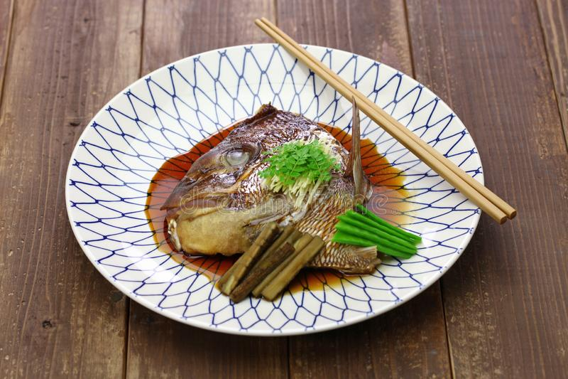 Simmered sea bream head, japanese cuisine. Simmered sea bream head, tai no kabutoni, japanese cuisine royalty free stock photos