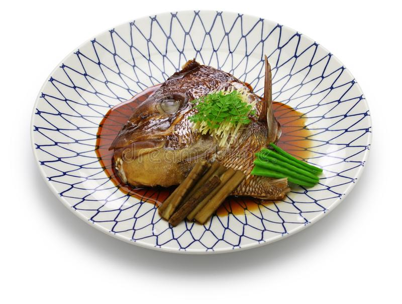 Simmered sea bream head, japanese cuisine. Simmered sea bream head, tai no kabutoni, japanese cuisine stock images