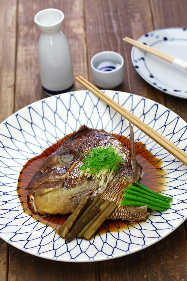 Simmered sea bream head, japanese cuisine. Simmered sea bream head, tai no kabutoni, japanese cuisine royalty free stock photo